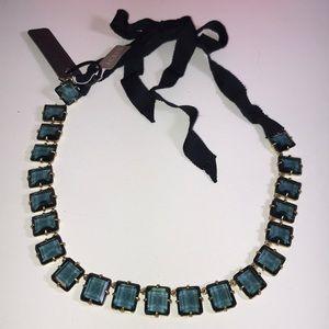 J. Crew ribbon tie crystal necklace NWT